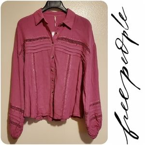 NWT Free People Summer Stars button up top